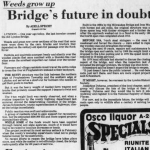 Lyndon IL residents save the Lyndon Bridge